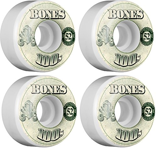 Bones Wheels 100's #10 Natural / Green Skateboard Wheels - 52mm 100a...