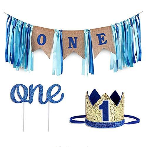 RecoverLOVE Baby 1. Geburtstag Boy Birthday Party Dekorationen Set blau Sackleinen Banner, Baby Foto Banner, Prince Crown Glitter Cake Topper Supplies