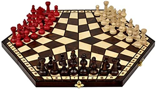 Wooden Three Player Chess - 18.5 by Sunrise Handicrafts