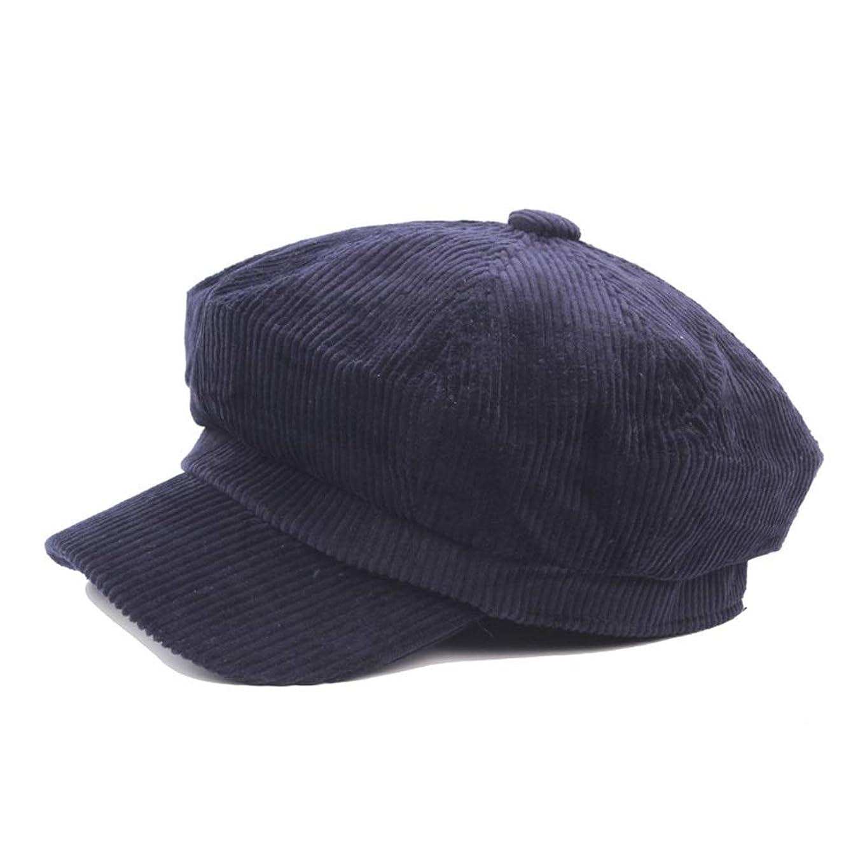 マイクロ揮発性ハブブベレー帽秋と冬のウールレディースコットン八角形キャップメンズ画家帽子新聞ボーイキャップアートレトロ レディースファッション帽子 (色 : Navy blue, サイズ : 56-58CM)