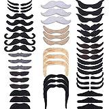 Hestya 48 Pièces Fausses Moustaches, Auto-Adhésif Moustache de Nouveauté Fiesta...