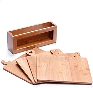 Kitchen Wooden Cutting Boards with Holder | Great Wedding Gifts for the Couple with 4 BAMBOO Cutting Boards with Stand | Unique Kitchen Accessories Gift for Couples