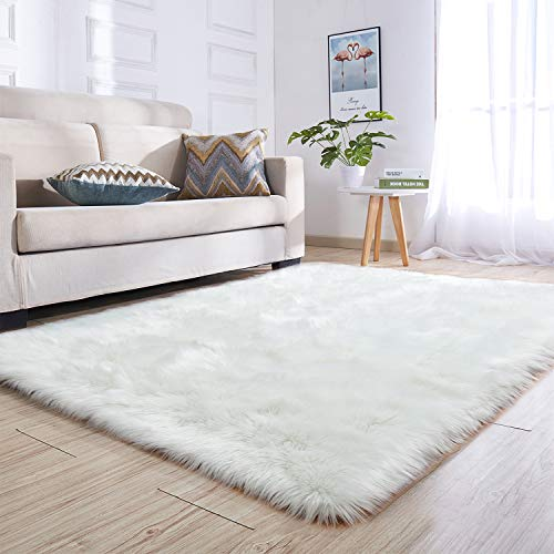 Noahas Faux Sheepskin Area Rugs Silky Long Wool Carpet for Living Room Bedroom, Children Play Dormitory Home Decor Rug, 4ft x 6ft White