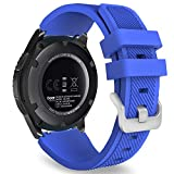 MoKo Samsung Gear S3 Frontier/Galaxy Watch 46mm / Classic Correa, Watch Band Deportiva de Silicona Suave Reemplazo Sport Band para - Azul Real