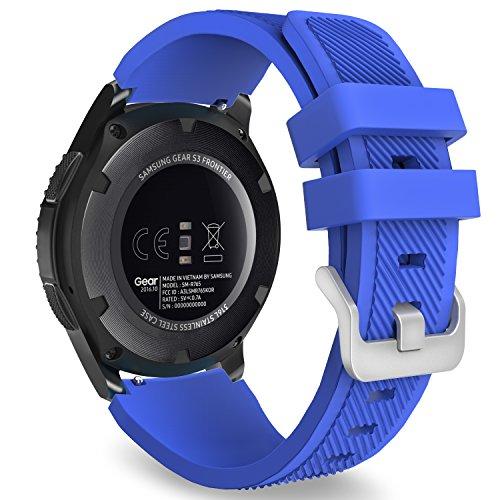MoKo Samsung Gear S3 Frontier/Galaxy Watch 46mm / Classic Correa, Watch Band Deportiva de Silicona Suave Reemplazo Sport Band para - Azul Real