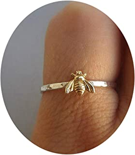 Eleusine Simple Tiny Solid Gold Color Copper Bee Finger Rings Gold Hammered Band Stacking Rings Wedding Anniversary Jewelr...