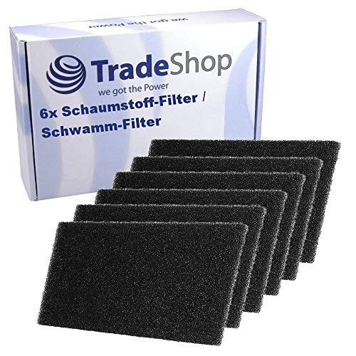 6x Schaumstoff-Filter für Bauknecht TK Ecosoft 8 A++ TK Ecostar 7A+ 7A++ 8A+ 8A++ TK Evo 74A+ 74A++ 84A+ 84A++ TK Platinium 82A TK Platinum 8 A++ TK Plus 72A DI TK Plus 82A DI TK-Ecostar TK-Evo TK-Pro