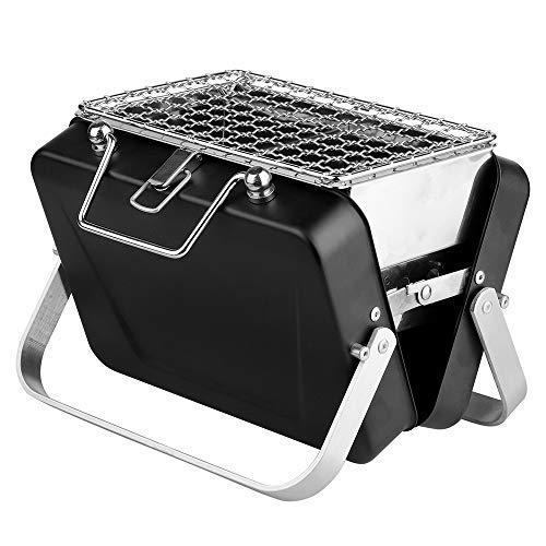 Edelstahl-Grill - Faltbarer Schwarzer Tragbarer Aktenkoffer-Grill Zusammenklappbares ZubehöR FüR Den Heimpark Verwenden Sie Den Mini-Taschengrill