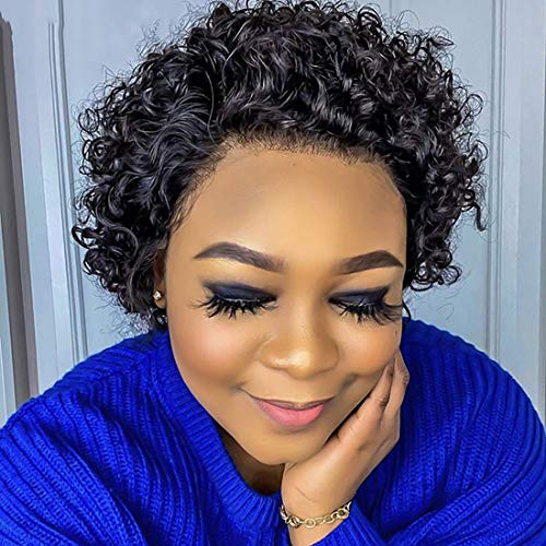Curly Bob Lace Front Wigs Pixie Cut Wigs Short wave Human Hair Wigs Pre Plucked 150% Density Brazilian virgin hair curly short wigs for black woman