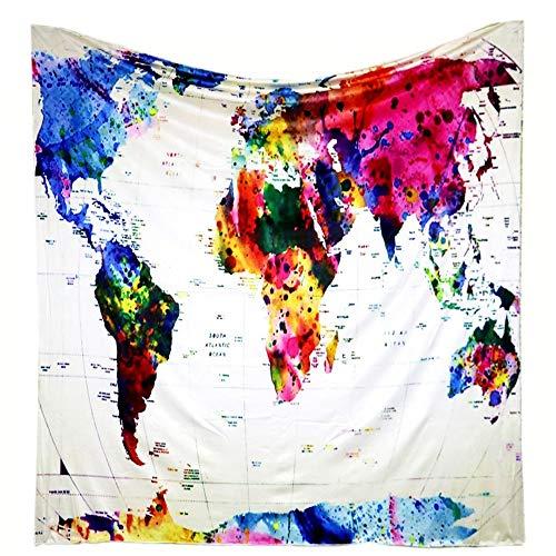 Tapiz del Mapa del Mundo de la Lona del Estilo de Europa del Norte y América Tapiz de Mable de Pared de Arte casero 1 150x130cm