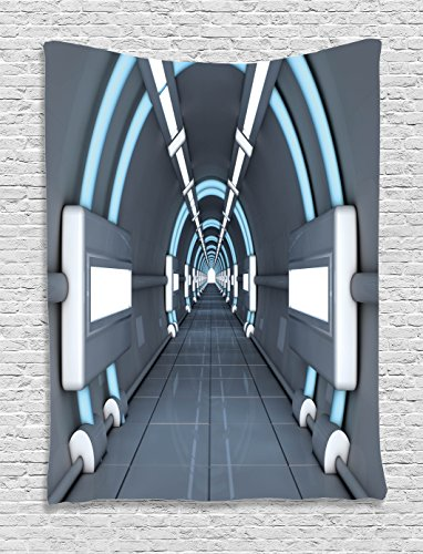 "Ambesonne Outer Space Tapestry, Inner View of Rocket Structure Cyber Hallway Trip to The Dark Matter, Wall Hanging for Bedroom Living Room Dorm, 60"" X 80"", Gray Blue"