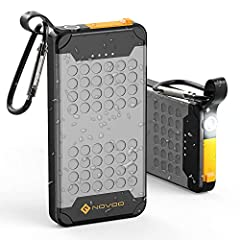 Waterproof& Dustproof & Shockproof:Novoo Explorer10,000 mAh Power Bank with an IP67 rating. It can be submerged in depths of under 1m for 30minutes and won't sustain any damages. It can fast charge your smartphones and tablets and other essential dev...