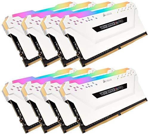 Corsair CMW128GX4M8C3200C16W RGB Pro 128GB (8 x 16GB) DDR4 3000MHz C16 XMP 2.0 Enthusiast LED-Beleuchtung Speicherkit Weiß