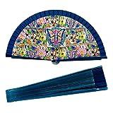 PracticDomus Abanico Plegable en Tela Estampada de Algodón Sobre Madera. Colección (Mosaico)