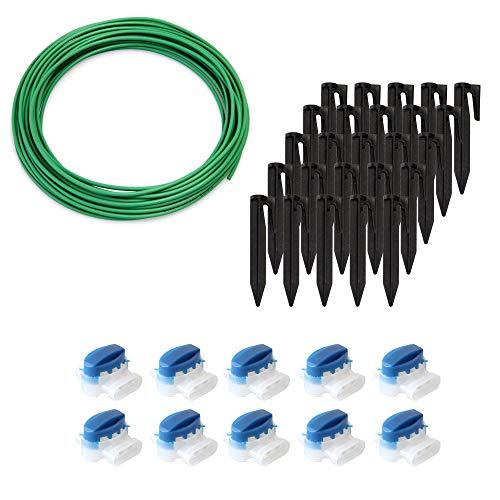 ECENCE Set de accesorios y reparación para robot cortacésped, 10m el cable delimitador + 10x conector + 25x gancho, universal para todos los modelos