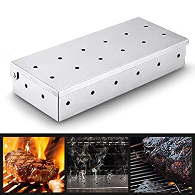 BBQ Smoker Box for Wood Chips,Thick Stainless Steel Meat Smoker Flavor Barbecue Meat Smoking Box for Charcoal and Gas Grills