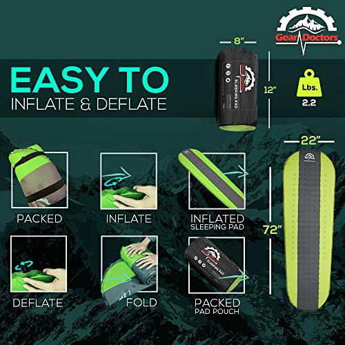 Gear Doctors- Self Inflating Sleeping Pad - 4.3 R-Value Lightweight Foam Filling 1.5-inch Thick Mat Perfect Size Mattress for Camping Backpacking Travel with Insulation for Cold Winters