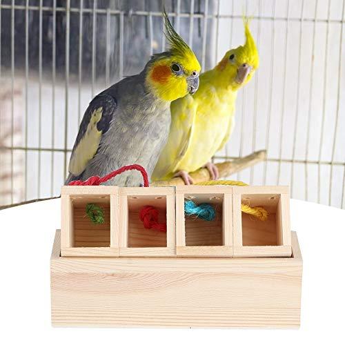 AMONIDA 8.27x3.15x2.36inch Bird Interactive Feeder, Vogelhäuschen aus Holz, Tierbedarf Vogelfutter-Futterbehälter für Wild Birds Park Balkon für(Length 21*Width 8*Height 6Cm (net Weight 380G))