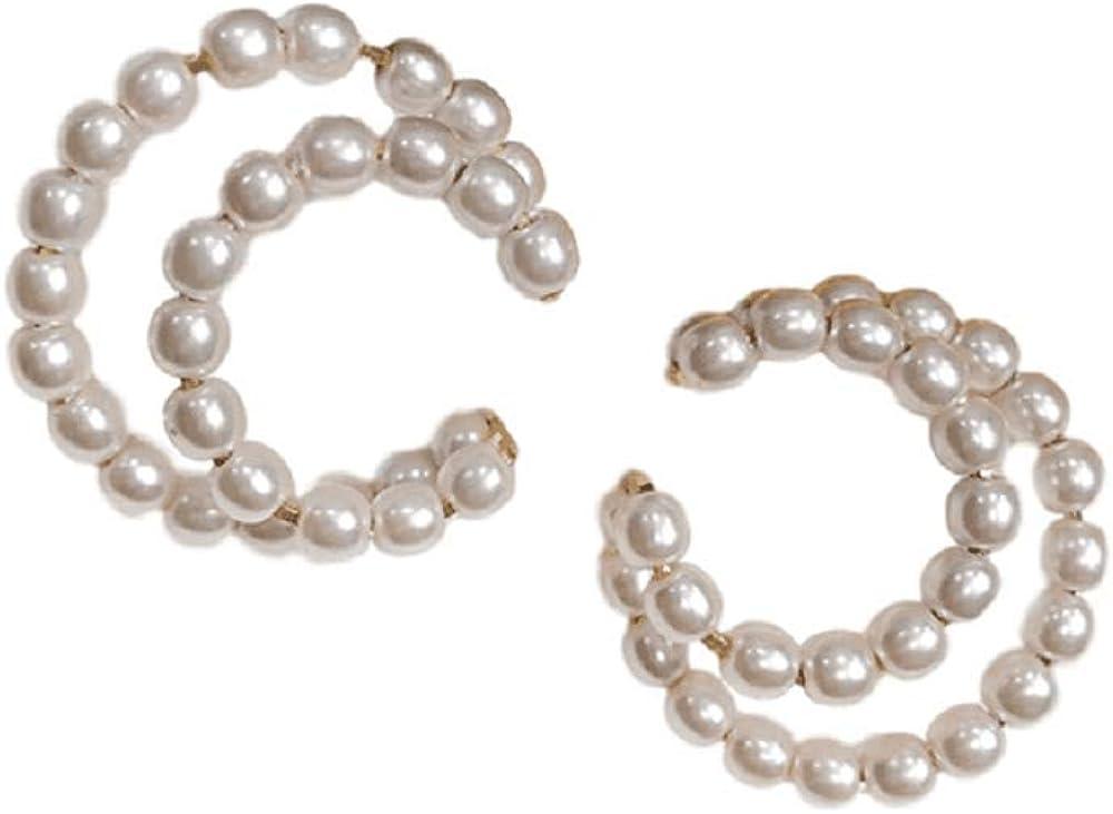 No piercing Ear Cuff for women Faux Pearl C Shaped Cartilage cuff Earring Wrap Earrings with Cubic Zirconia