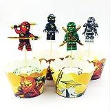 24 piezas de decoración para cupcakes con diseño de maestro ninja y fantasma, para fiestas de cumpleaños
