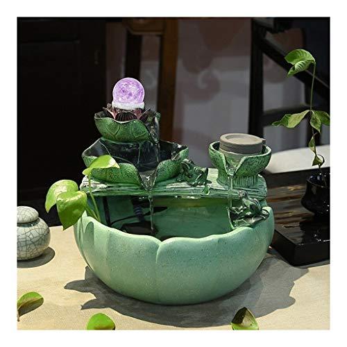 Fuentes de mesa Relajación interior Fuente de la mesa de la mesa de loto de la hoja que fluye el agua Feng Shui Fuente, Decoración para la oficina de sala de estar & OutdoorPatio Fuente de escritorio