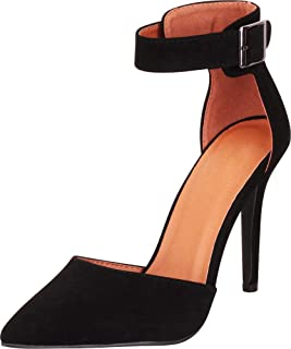Women's Pointed Toe D'Orsay Buckled Ankle Strap Stiletto High Heel Pump
