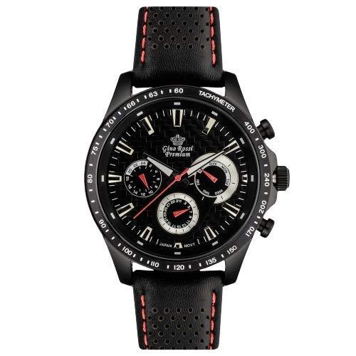 Gino Rossi WR50 - Reloj de Pulsera para Hombre (Piel), Color Negro y Rojo