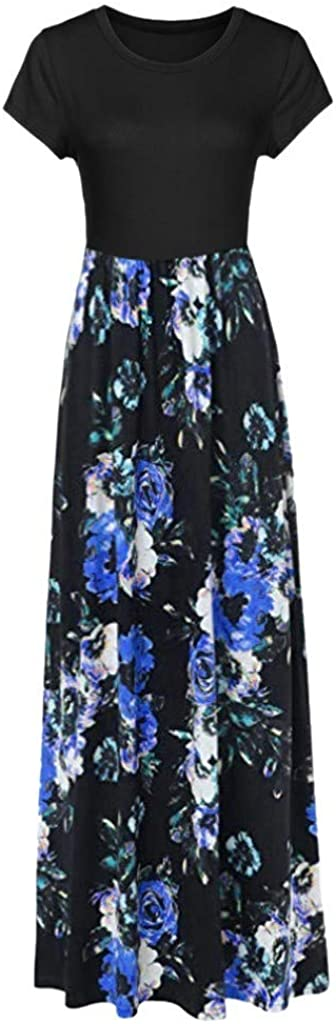 Dresses for Women Casual, Women Fashion Casual Loose Geometric Printing Sleeveless Dress Long Skirt for Summer