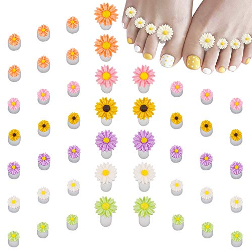SUSSURRO 48 Pieces Silicone Flower Toe Separators for Pedicure Nail Polish Toe Stretchers Spreaders Spacers Pedicures Nail Art Tools