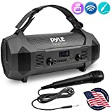Wireless Portable Bluetooth Boombox Speaker - 600W Rechargeable Boom Box Speaker Portable Barrel Loud Stereo System with AUX Input, USB, 1/4' Mic in, Fm Radio, Dual 4' Subwoofer - Pyle PBMSPG122