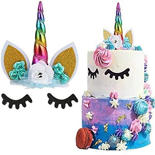 Unicorn Cake Topper Handmade Flowers Eyelashes Unicorn Horn Ears Happy Birthday DIY Glitter Birthday Cupcake Topper Candle Party Decoration for Baby Shower Wedding Birthday