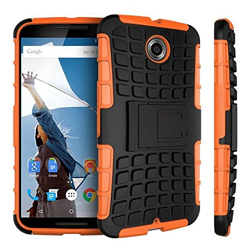 Nexus 6 case,Google Nexus 6 case,[Heavy Duty Armor][shockproof][TPU+Hard case Hybrid]Dual Layer Armor Defender Protective Case Cover with kickstand for Google Nexus 6 case-Orange
