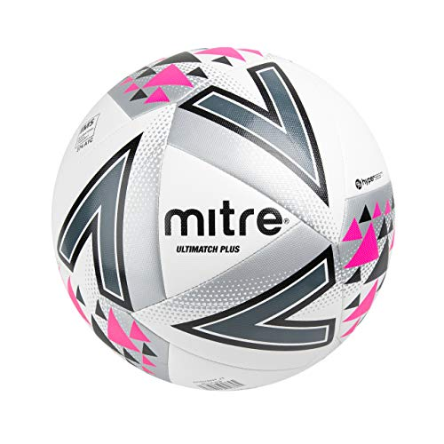 Mitre Ultimatch Plus Fußball Spielball, White/Silver/Pink, 5