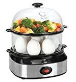 Cuiseur à oeufs en acier inoxydable, Stoga Egg Cooker pour 1-7 oeufs 350 W avec fonction de maintien Cuiseur à œufs - Noir