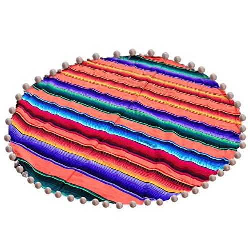 Yinuoday Alfombra de Área Redonda Alfombra Mexicana Alfombra Mexicana a Rayas Arcoíris para Meditación con Pompón Verde