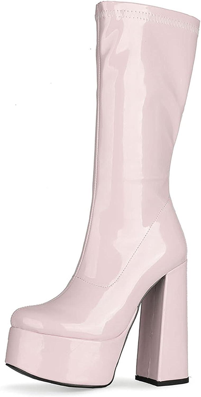 SaraIris Women's Go-Go Boots Platform Boots For Women Chunky Block Heel Mid Calf Pull On Boots High Heel Waterproof Boots