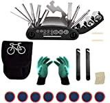 HIQE-FL Kit Pinchazos Bicicleta Montaña,Kit de Parches de Bici,Reparación Pinchazos Bicicleta,Bicicleta Kit Pinchazos,Kit Reparación Herramientas Bicicleta,Herramienta Multifunción Ciclismo