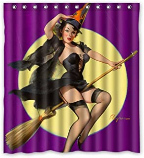 Sexy Bathroom Shower Curtain Pin Up Girl I'm a Halloween Witch Purple Background - Vintage Retro Pin Up Girls Body Art Work Canvas Painting Style Waterproof Polyester 66(w) x72(h) Inch