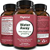 Water Away Diuretic Pills - Natural Water Weight Loss Support for Men and Women Fast Acting Bloating Swelling Relief Supplement - Pure Vitamin B6 Dandelion Green Tea Extract 90 Capsules by Phytoral