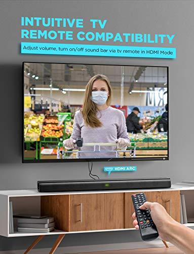 Bomaker Barre de Son sans Fil 2.0 Canal 120W HDMI TV Haut-Parleur 110 DB Bluetooth 5.0 Son stéréo DSP avec AUX, USB, HDMI, OP, 37 Pouces-ODINE ?