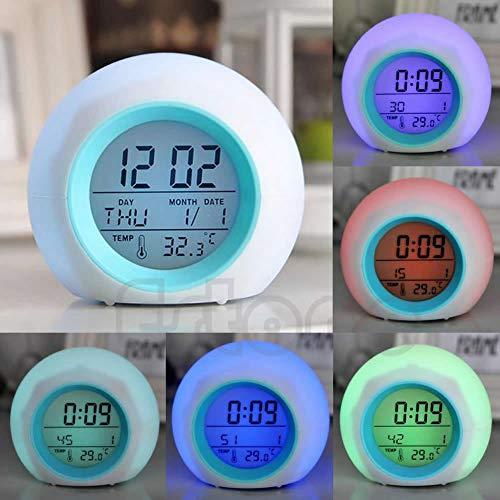 FKY Alarme D'horloge De Digital LED Chauffant Le Thermomètre Chaud De Changement De Couleur 7 avec Le Bruit De Nature
