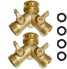 "Brass Hose Splitter Garden Hose Y Valve Connectors 2 way shut off valve With Solid Brass Handle Brass Y Valve Water Garden Hose Adapter 3/4\\""GHT Thread Extra 4 Presure washers"