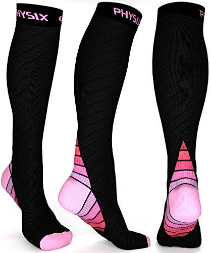 Physix Gear Compression Socks for Men & Women 20-30 mmHg Graduated Athletic for Running Nurses Shin Splints Flight Travel & Maternity Pregnancy - Boost Stamina Circulation & Recovery PNK S/M (1 Pair)
