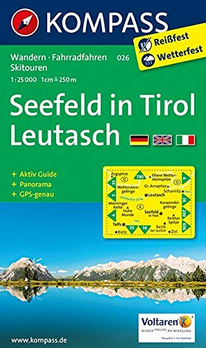 Carta escursionistica n. 026. Austria. Tirolo... Seefeld in Tirol-Leutasch 1:25.000. Con carta panoramica. Adatto a GPS. DVD-ROM digital map. Ediz. multilingue: Wandelkaart 1:25 000