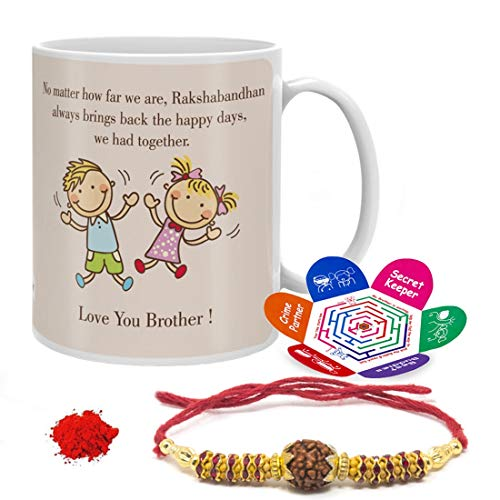 Indigifts Raksha Bandhan Gift Set Of Mug 330 Ml, Crystal Rakhi For Brother, Roli, Chawal & Greeting Card