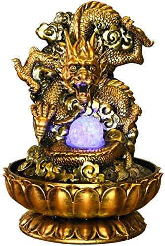 Home Art Decor Crafts Inicio Oficina Decoración de escritorio Dragón Golden Dragón LED Tablero de agua Fuente de agua Inicio Oficina Decoración de escritorio Feng Shui Decoración Fuente de mesa, Resin