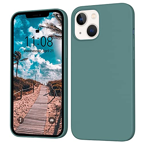 ORDA iPhone 13 Hülle Silikon Hülle, Hanyhülle iPhone 13 mit Soft Microfiber, Flüssig Silikon Gel Gummi Kratzfeste R&umschutz Hülle Schutzhülle Matt Hülle für iPhone 13 6.1'' Kiefernnadel Grün