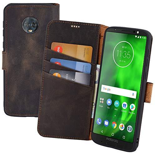 Suncase Book-Style (Slim-Fit) Leder Tasche Handytasche Schutzhülle Hülle (mit Standfunktion & Kartenfach - Bruchfester Innenschale) kompatibel für Motorola Moto G6 Plus Hülle in antik braun