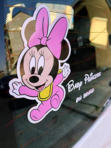 Adhesivo Baby On Board para coche – Bebé a bordo – Minnie y Mickey Mouse – para niño y niña (Baby Princess)