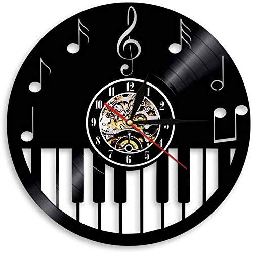 clockfc Schallplatte Wanduhr Klavier Tastatur Home Decor Schallplatte Wanduhr Noten Klavier Violinschlüssel Noten Noten Dekorative Vinyl Uhr Musiker Kunst Geschenk-12 Zoll